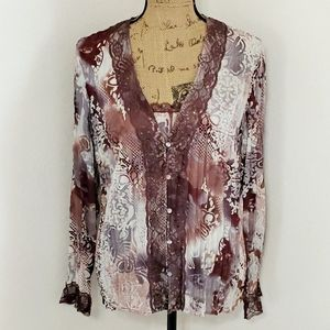 🙋♀️Clothing Co. by Notations•mixed media top•lg.